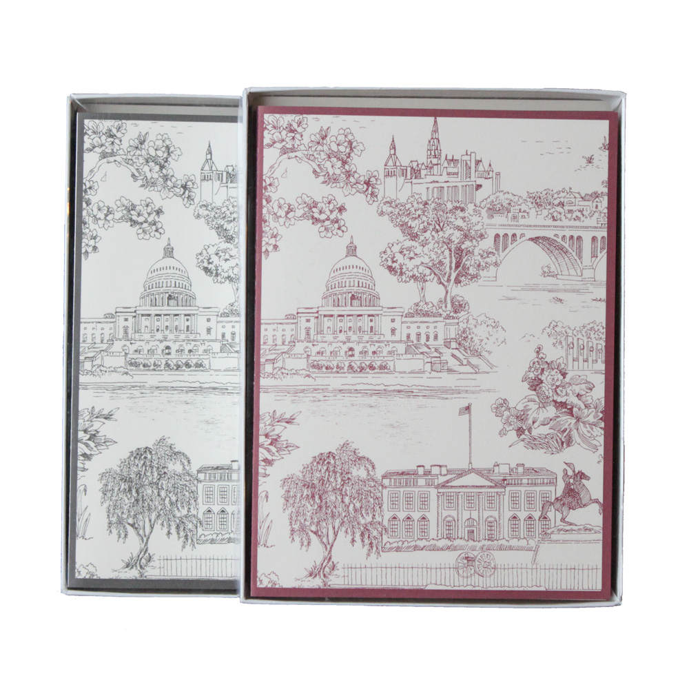 Washington, DC Toile Notecard Pack