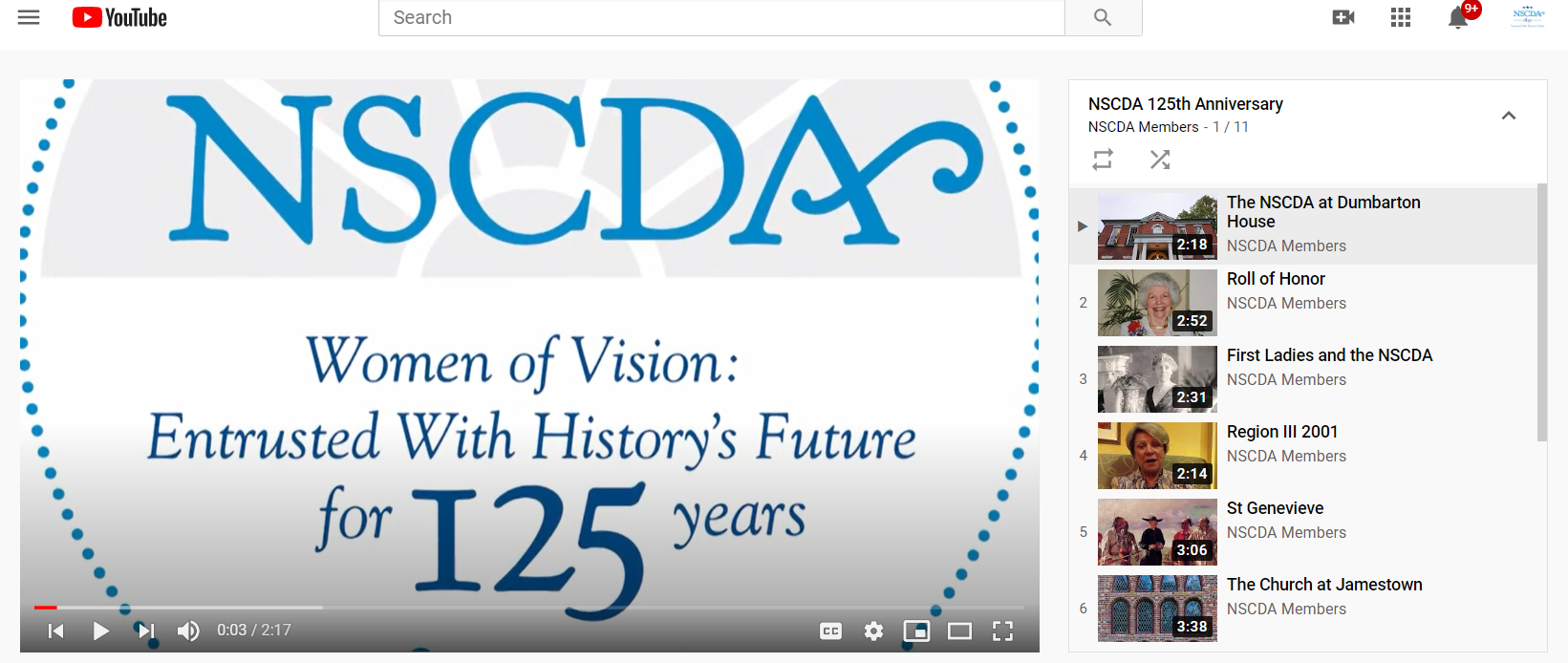 125th Anniversary logo on YouTube page